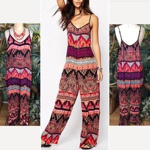 """""""Band of Gypsies"""" wide leg mixed print jumpsuit- M"""